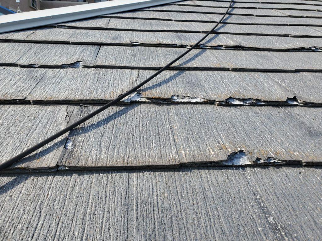屋根材パミール、層間剥離が発生しています。